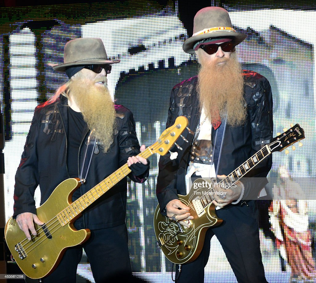 Dusty Hill (L) and Billy Gibbons of ZZ Top performs as part of the 'Beards N' Beck Tour 2014' at The Mountain Winery on August 12, 2014 in Saratoga, California.