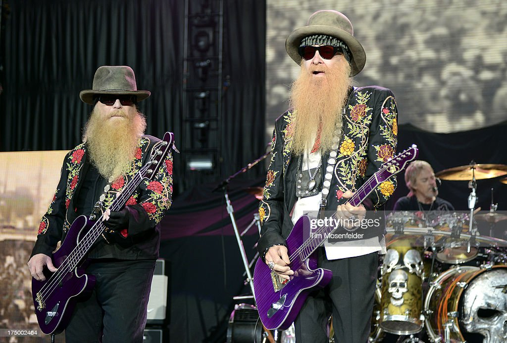 Dusty Hill, Billy Gibbons, and Frank Beard of ZZ Top perform at Shoreline Amphitheatre on July 28, 2013 in Mountain View, California.