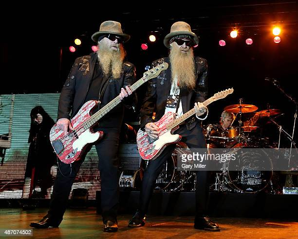 Dusty Hill Billy Gibbons and Frank Beard of ZZ Top perform at the Fayette County Fairgrounds on September 5 2015 in La Grange Texas