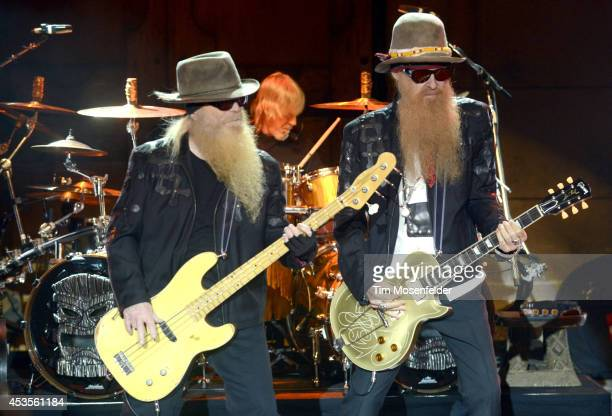 Dusty Hill Frank Beard and Billy Gibbons of ZZ Top perform as part of the 'Beards N' Beck Tour 2014' at The Mountain Winery on August 12 2014 in...