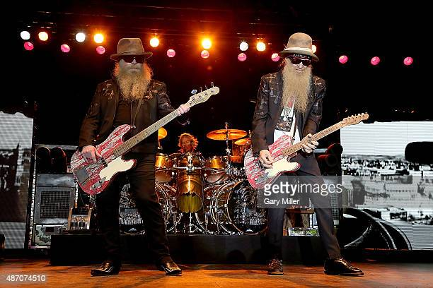 Dusty Hill Frank Beard and Billy Gibbons of ZZ Top perform at the Fayette County Fairgrounds on September 5 2015 in La Grange Texas