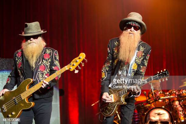 Dusty Hill Frank Beard and Billy Gibbons of ZZ Top perform onstage at Pechanga Casino on March 30 2014 in Temecula California
