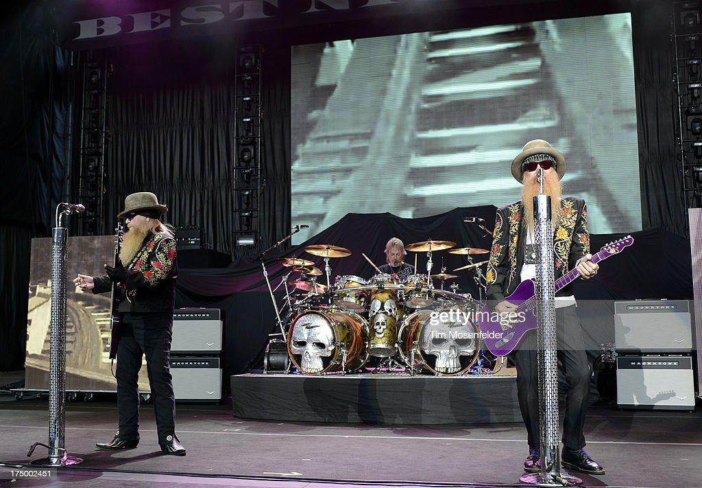Dusty Hill, Frank Beard, and Billy Gibbons of ZZ Top performs at Shoreline Amphitheatre on July 28, 2013 in Mountain View, California.