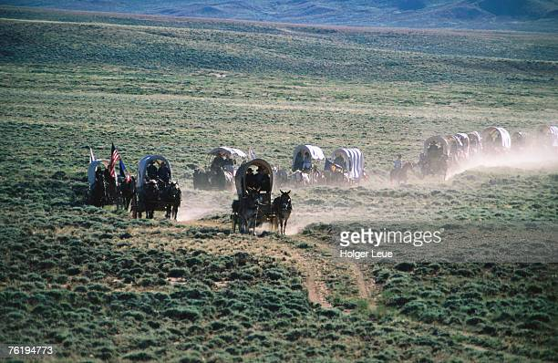 Dusty horse carriage trek, Mormon Pioneer Wagon Train to Utah, near South Pass, Wyoming, United States of America, North America