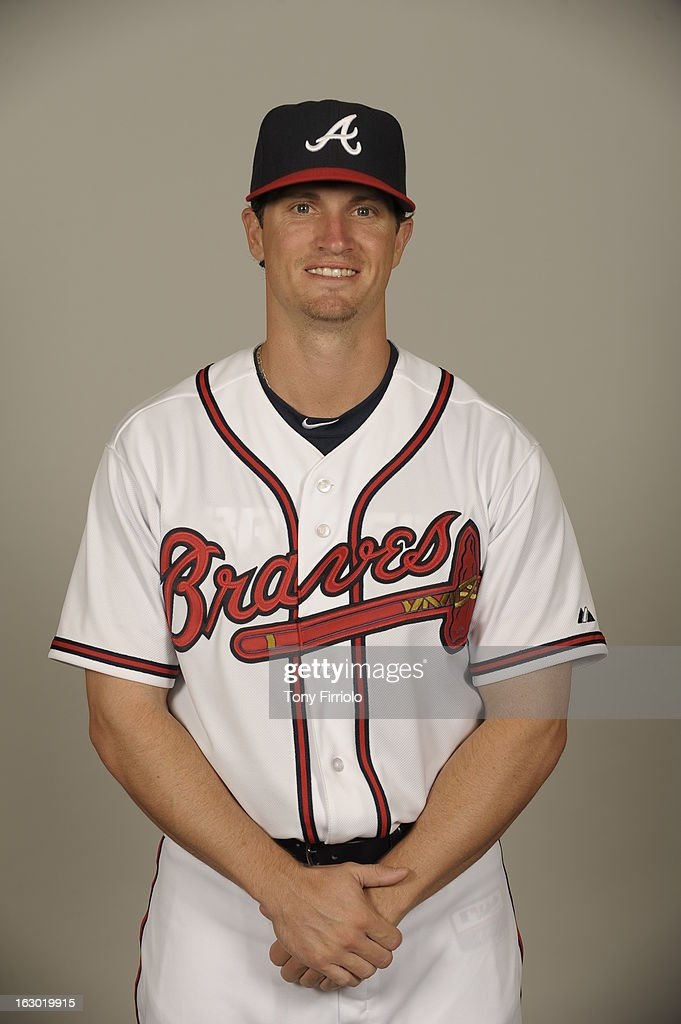 Dusty Hughes #48 of the Atlanta Braves poses during Photo Day on Wednesday, February 20, 2013 at Champion Stadium in Lake Buena Vista, Florida.