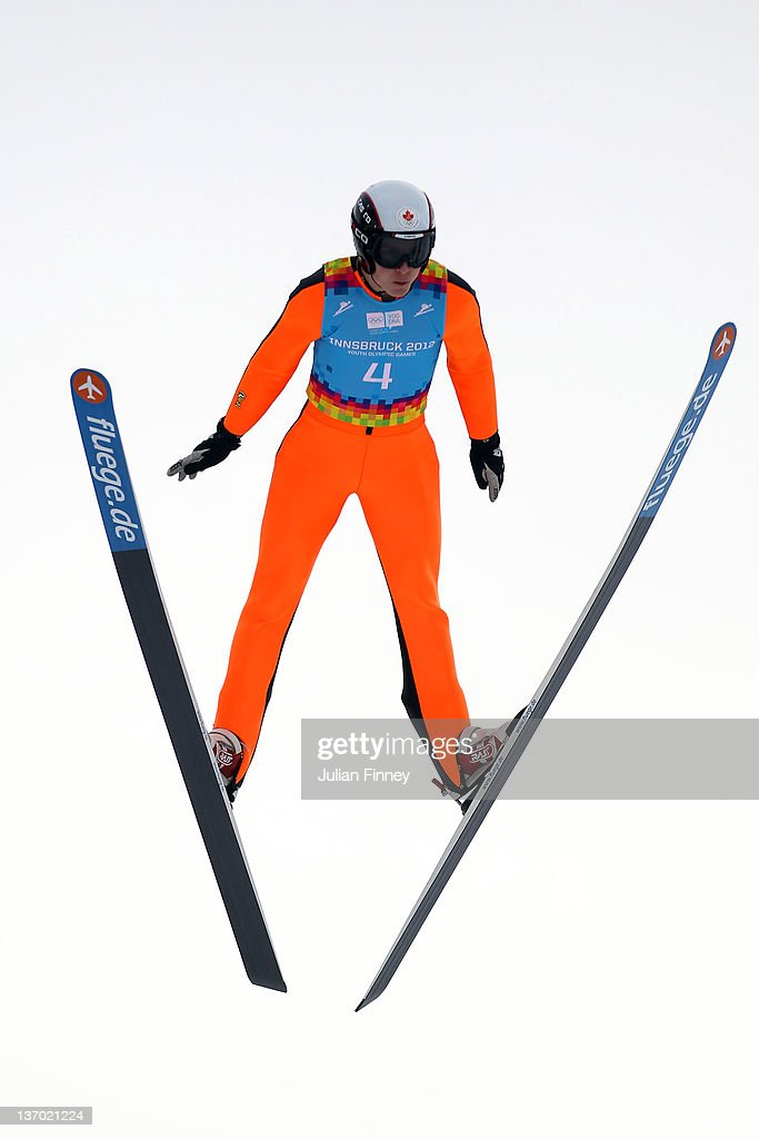 Dusty Korek of Canada jumps during the Winter Youth Olympic Games Ski Jumping at Seefeld Arena on January 14, 2012 in Seefeld, Austria.