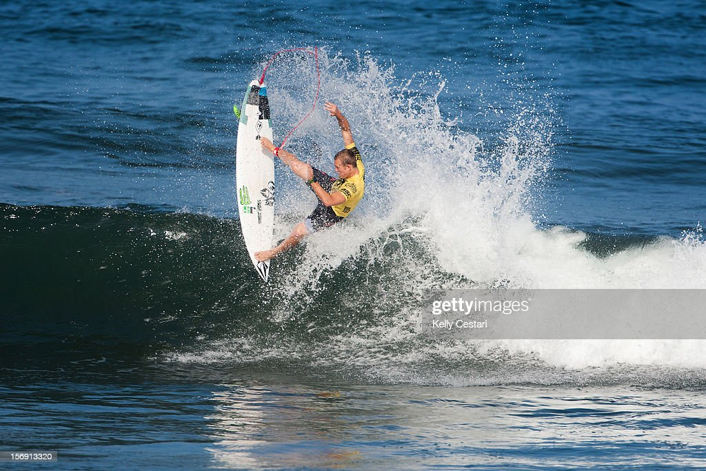 Dusty Payne of Hawaii placed equal 13th in the REEF Hawaiian Pro at Ali'i Beach Park on November 24, 2012 in Haleiwa, Hawaii.