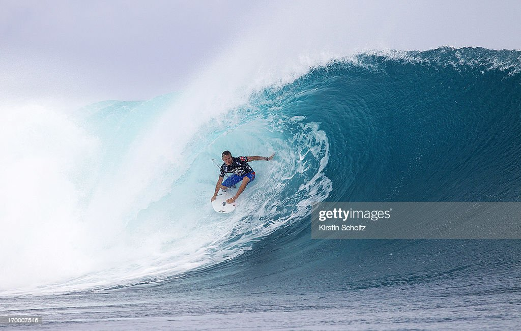 <a gi-track='captionPersonalityLinkClicked' href=/galleries/search?phrase=Dusty+Payne&family=editorial&specificpeople=4091671 ng-click='$event.stopPropagation()'>Dusty Payne</a> of Hawaii surfs during round two of Volcom Fiji Pro on June 6, 2013 in Tavarua, Fiji.