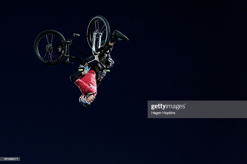 Dusty Wygle performs a BMX trick during Nitro Circus Live at Westpac Stadium on February 9, 2013 in Wellington, New Zealand.