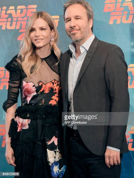 Dutch actress and model Sylvia Hoeks poses with Canadian film director Denis Villeneuve at the photocall of the movie 'Blade Runner 2049 ''on...