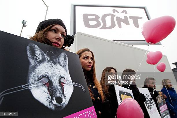 Dutch actress Georgina Verbaan demonstrates with other members of an antifur organisation against Furlab 2010 in Amsterdam The Netherlands on January...