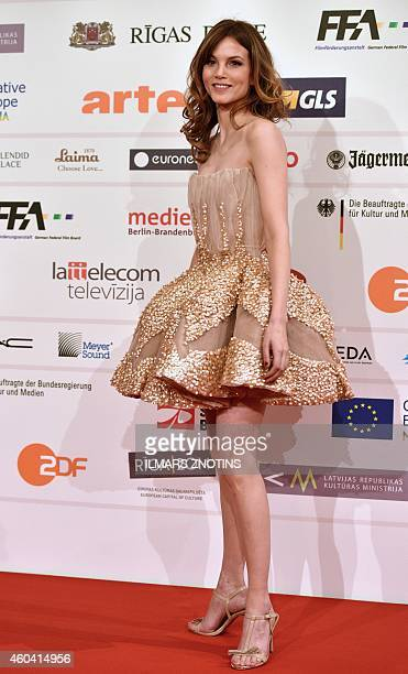 Dutch actress Sylvia Hoeks poses for photographers on the red carpet upon arrival for the 27th European Film Awards ceremony in Riga Latvia on...
