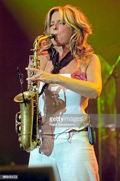 Dutch Alto Sax player Candy Dulfer performs live at the North Sea Jazz Festival in The Hague Holland on July 13 2002