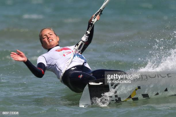 Dutch Annabel Van Westerop competes in the Mondial du Vent or World Wind kitesurfer competition part of the World Cup Kitesurf Freestyle WKL 2017 at...