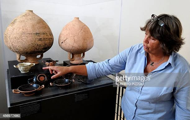 PALASCIANO Dutch archeologist Marijke Gnade researcher in preRoman archeology at the University of Amsterdam shows objects and amphora found in the...