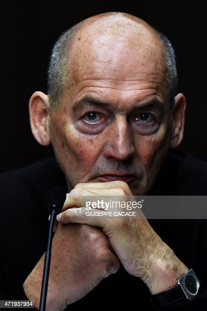 Dutch architect Rem Koolhaas attends a press conference at the new venue of the Prada Foundation on May 2 2015 in Milan The new Milan venue of the...