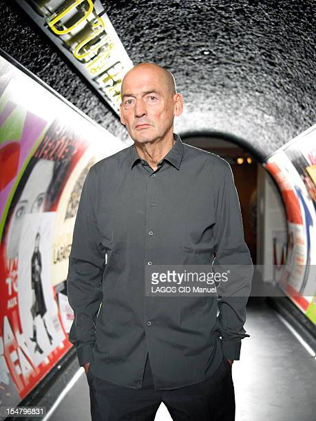 Dutch architect Rem Koolhaas photographed for Paris Match for the exhibition of his work for the centennial of the Galerie Lafayette store on October...