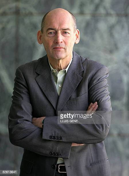 Dutch architect Rem Koolhaas poses for journalists in the Mies Van der Rohe pavilion in Barcelona 11 April 2005 The building of the Netherlands...