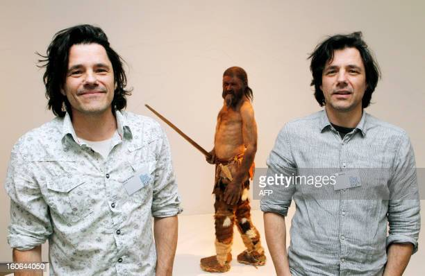 Dutch artists Adrie Kennis and Alfons Kennis who made the reconstruction of a mummy of an iceman named Otzi discovered on 1991 in the Italian Schnal...