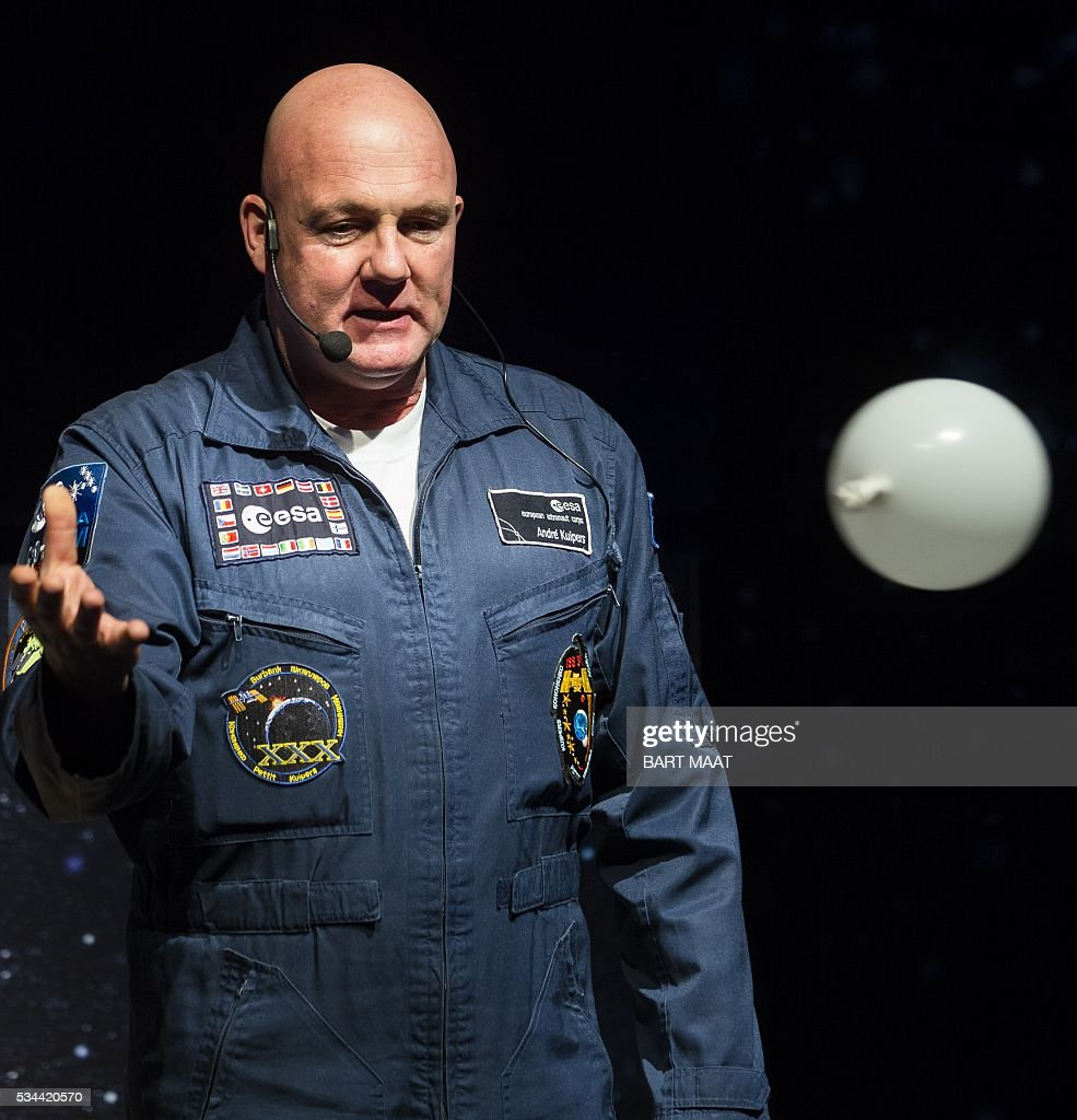 Dutch astronaut Andre Kuipers speaks during the launch of the European Space Expo in The Hague, on May 26, 2016. / AFP / ANP / Bart Maat / Netherlands OUT