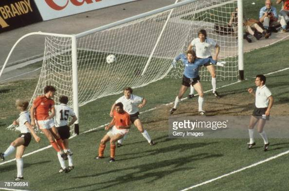 A Dutch attack on the German goal during the teams' group A match at the UEFA European Football Championship at the Stadio San Paolo Naples 14th June...
