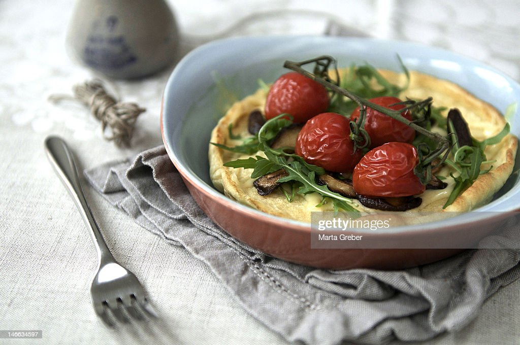 Dutch babies with mushrooms : Stock Photo