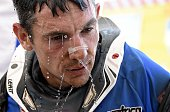 Dutch biker Frans Verhoeven reacts at the end of the stage 2 of the Dakar 2015 between Carlos Paz and San Juan Argentina on January 5 2015 AFP PHOTO...