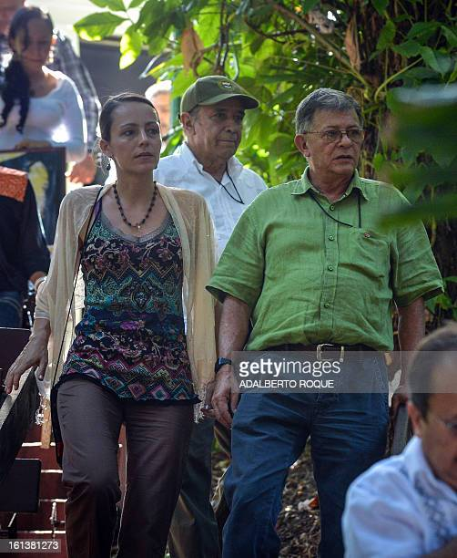 Dutch born Tanja Nijmeijer and FARC Commander Ricardo Tellez members of the FARCEP peace talks delegation arrive for a press conference on February...