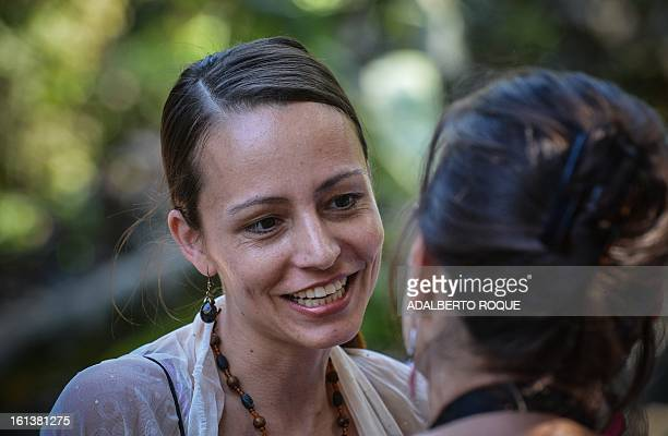 Dutch born Tanja Nijmeijer member of the FARCEP peace talks delegation smiles as she arrives for a press conference on February 10 2013 in Havana AFP...