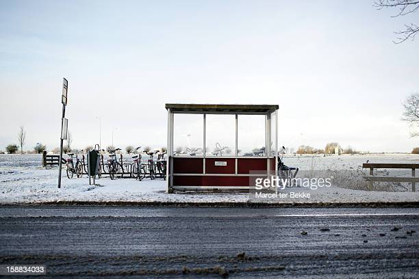 Dutch busstop in winter