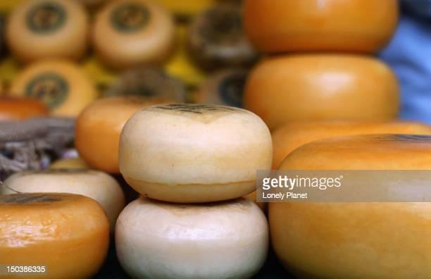 Dutch cheese on display.