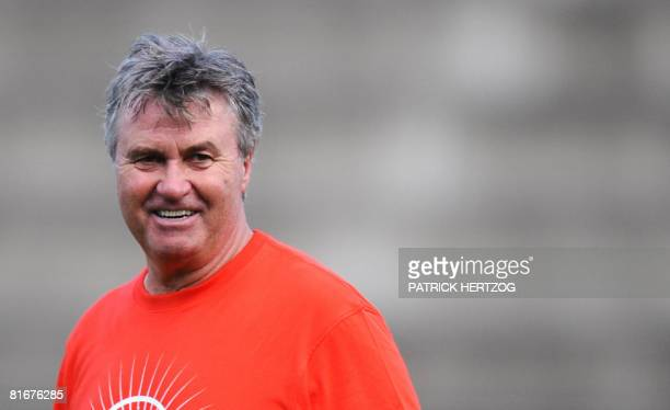 Dutch coach of the Russian national football team Guus Hiddink smiles during a training session on June 23 2008 in Basel Switzerland Russia play...
