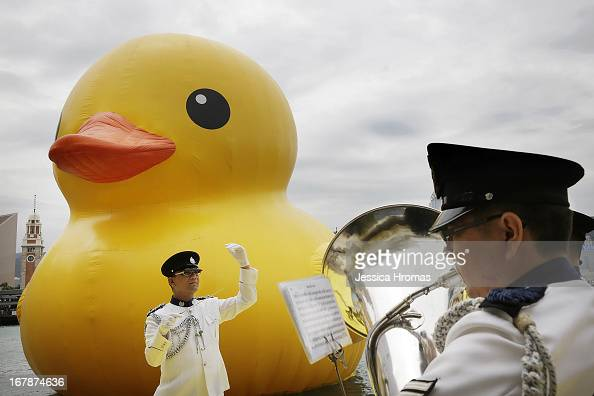 Dutch conceptual artist Florentijin Hofman's Floating duck sculpture called 'Spreading Joy Around the World' is given a welcome ceremony by the Hong...