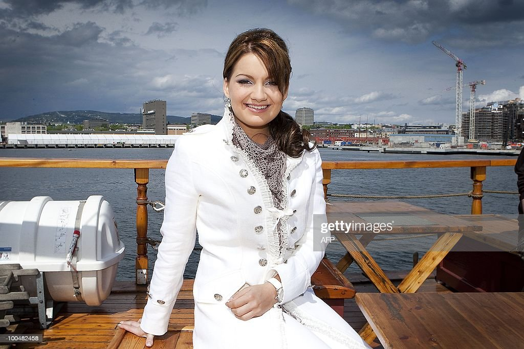 Dutch contestant for the Eurovision Song Contest Sieneke poses on a boat near Oslo, Norway, on May 24, 2010.