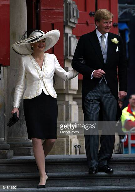 Dutch Crown Prince WillemAlexander and his wife Princess Maxima leave after the civil ceremony at the wedding of Queen Beatrix's second son Prince...