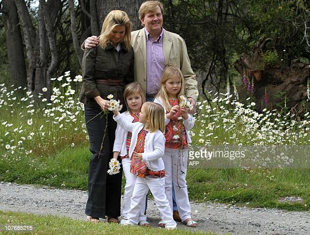 Dutch Crown Prince WillemAlexander and Princess Maxima with their daughters Princess Alexia Princess Ariane and Princess Amalia pose during a photo...