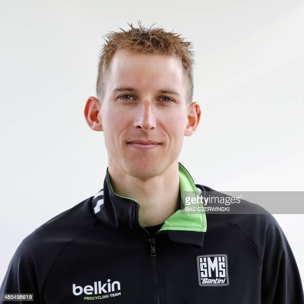 Dutch cyclist Bauke Mollema poses for a photograph as he attends a press conference of the Belkin Pro Cycling Team prior to the Amstel Gold Race in...