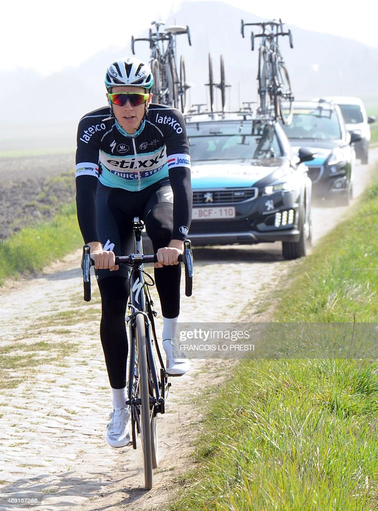 Dutch cyclist <a gi-track='captionPersonalityLinkClicked' href=/galleries/search?phrase=Niki+Terpstra&family=editorial&specificpeople=609813 ng-click='$event.stopPropagation()'>Niki Terpstra</a> and members of the Quick Step cycling team ride on a cobblestone road in Haveluy, northern France, on April 10, 2015 during a training session ahead of the Paris-Roubaix cycling race on April 12.