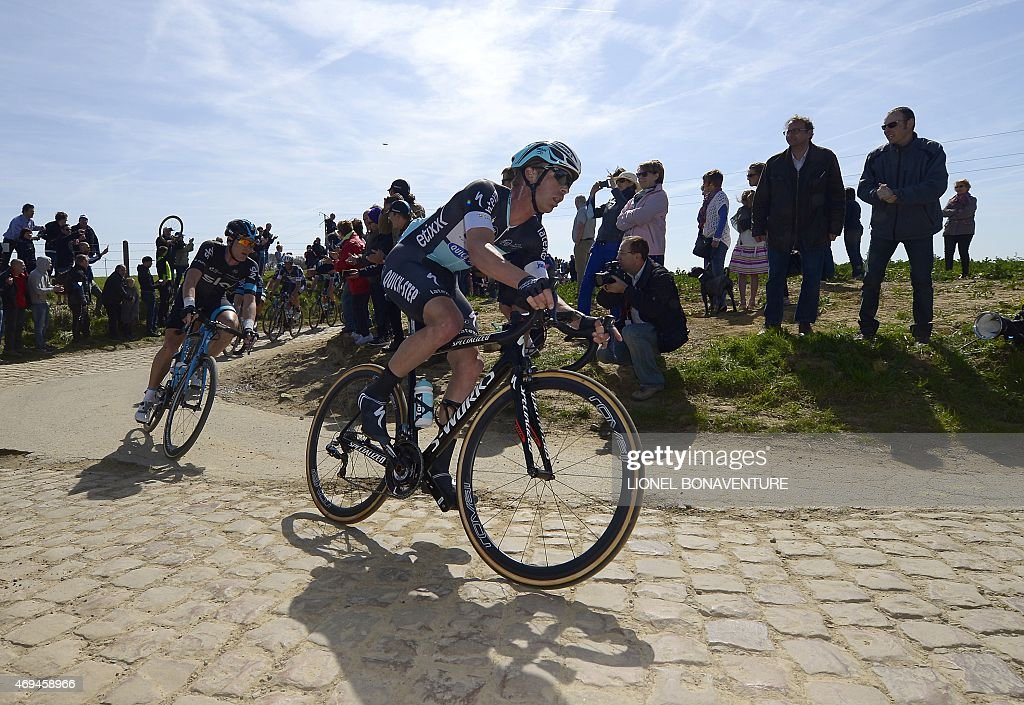 Dutch cyclist <a gi-track='captionPersonalityLinkClicked' href=/galleries/search?phrase=Niki+Terpstra&family=editorial&specificpeople=609813 ng-click='$event.stopPropagation()'>Niki Terpstra</a> of team Ettix - Quick-Step (R) rides during 113th edition of the Paris-Roubaix Paris-Roubaix one-day classic cycling race in Compiègne on April 12, 2015.