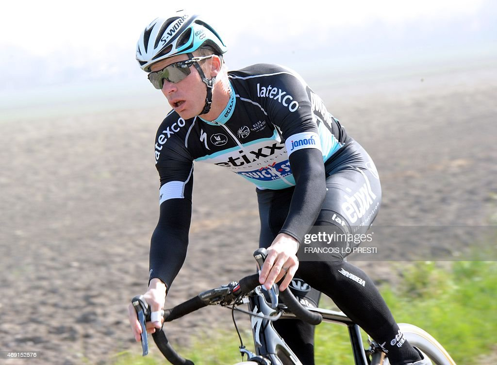 Dutch cyclist <a gi-track='captionPersonalityLinkClicked' href=/galleries/search?phrase=Niki+Terpstra&family=editorial&specificpeople=609813 ng-click='$event.stopPropagation()'>Niki Terpstra</a> rides on a cobblestone road in Haveluy, northern France, on April 10, 2015 during a training session ahead of the Paris-Roubaix cycling race on April 12.