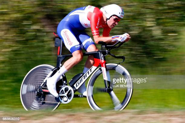 Dutch cyclist Tom Dumoulin from Team Sunweb rides during the 10th stage an individual timetrial between Foligno and Montefalco during the 100th Giro...