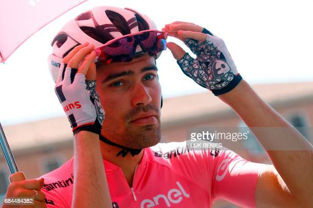 Dutch Cyclist Tom Dumoulin from Team Sunwebin gets ready prior to compete during the 12th stage of the 100th Giro d'Italia Tour of Italy cycling race...