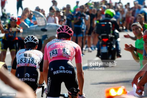 Dutch cyclist Tom Dumoulin of Team Sunweb wearing the overall leader pink jersey rides in the final climb during the 19th stage of 100th Giro...