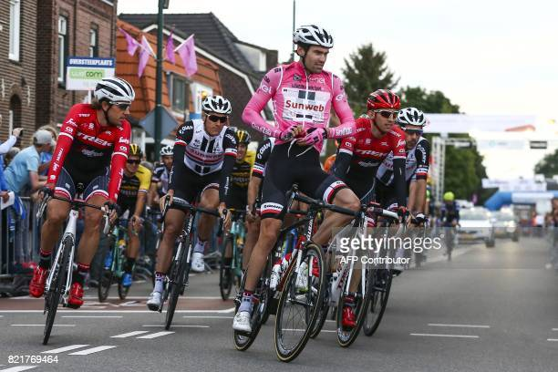 Dutch cyclist Tom Dumoulin takes part in the 'Daags na de Tour' a traditional cycling event held yearly in Boxmeer on July 24 one day after the end...