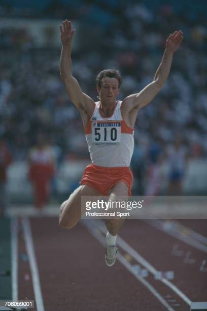 Dutch decathlete Robert de Wit competes for the Netherlands in the long jump discipline on the first day of competition before finishing in 8th place...