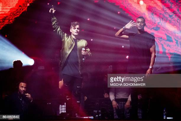 Dutch DJ Martin Garrix performs with Sunnery James during the Amsterdam Dance Event in Amsterdam on October 22 2017 / AFP PHOTO / ANP / Mischa...