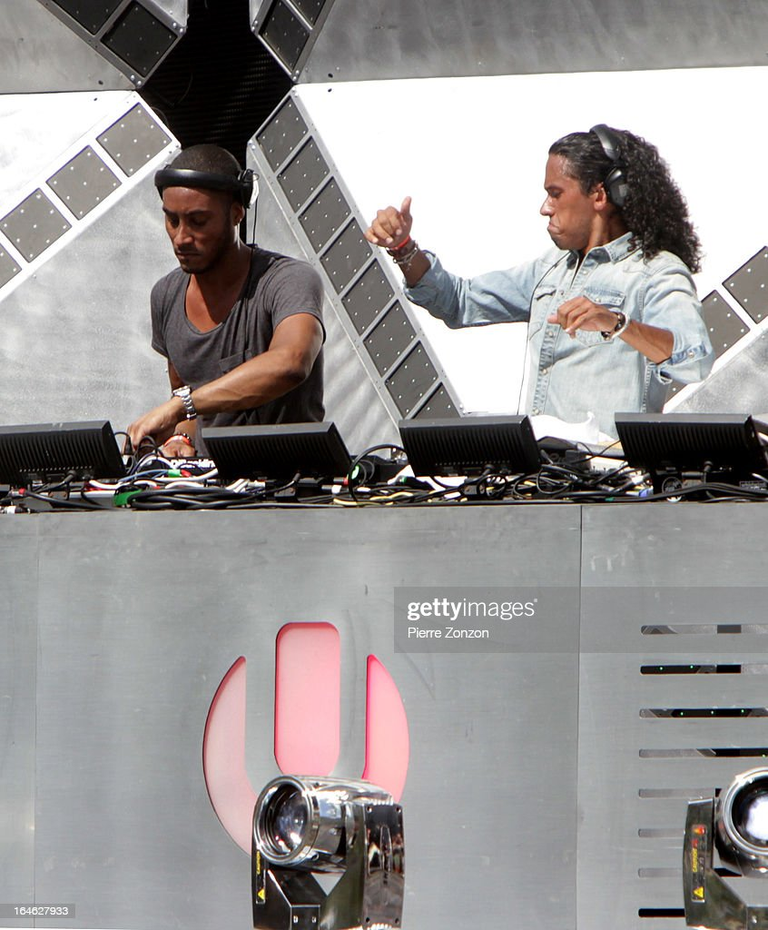 Dutch DJ Sunnery James & Ryan Marciano performing at the Ultra Music Festival at Bayfront Park Amphitheater on March 24, 2013 in Miami, Florida.