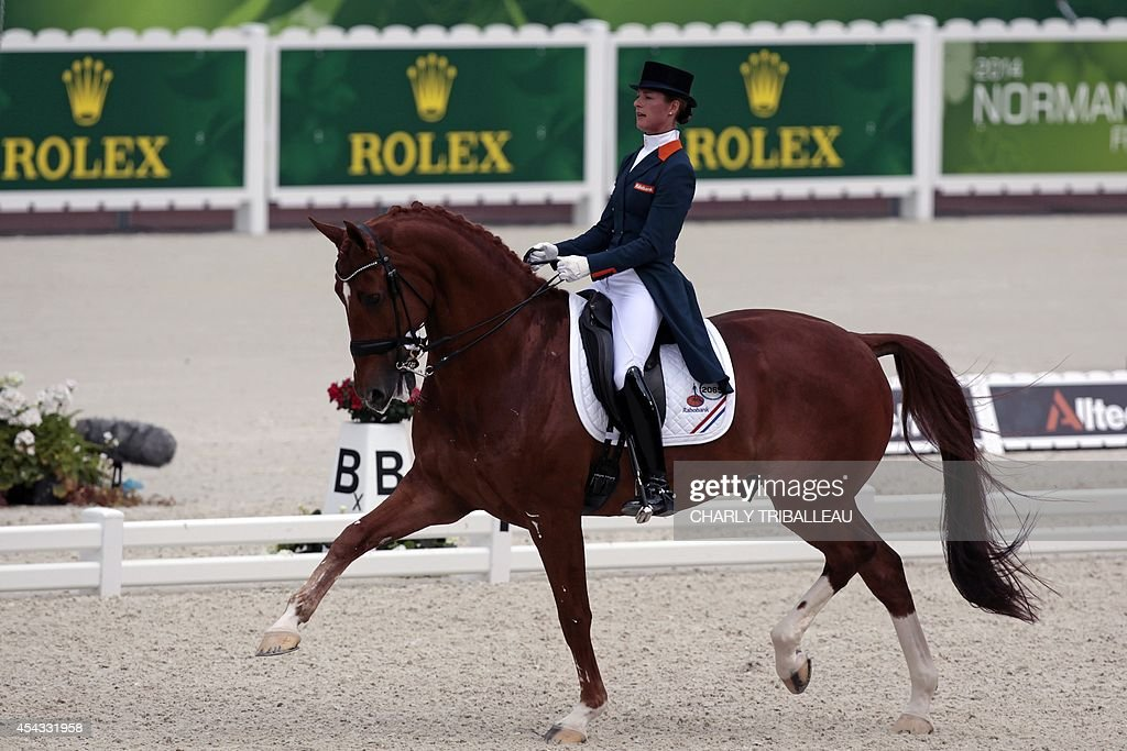 Dutch dressage rider <a gi-track='captionPersonalityLinkClicked' href=/galleries/search?phrase=Adelinde+Cornelissen&family=editorial&specificpeople=5427385 ng-click='$event.stopPropagation()'>Adelinde Cornelissen</a> rides Jerich Parzival N.O.P. on August 29, 2014 during the Individual Freestyle Dressage Grand Prix of the 2014 FEI World Equestrian Games, in the northwestern French city of Caen.