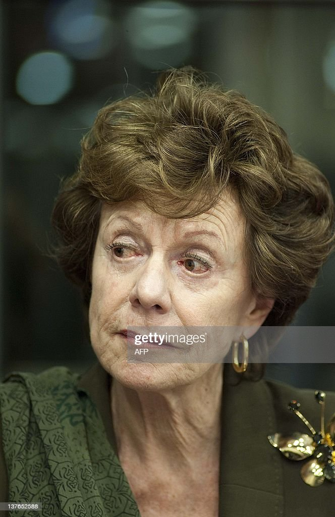 Dutch European Commissioner for Competition Neelie Kroes looks on during a European Affairs meeting and discussion at the House of Representatives in the Hague, on January 24, 2012.