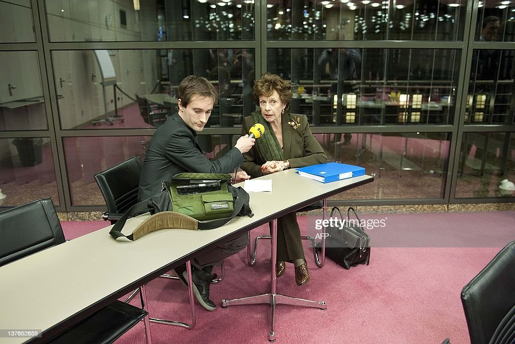 Dutch European Commissioner for Competition Neelie Kroes (R) speaks with a journalist during a European Affairs meeting at the House of Representatives in the Hague, on January 24, 2012.